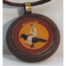 Дхумавати Янтра (амулет в деревянной рамке, 30 мм)