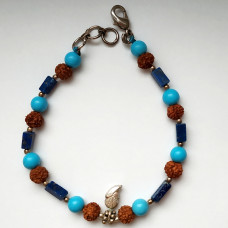 Браслет из рудракши, голубых, темно-синих камней